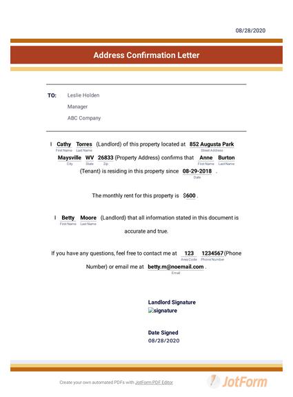 Address Confirmation Letter