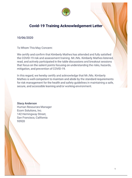 Covid-19 Training Acknowledgement Letter Template