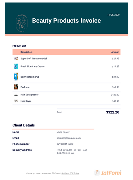 Beauty Products Invoice