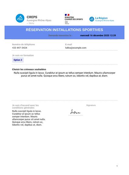 Formulaire réservation installations sportives stagiaires