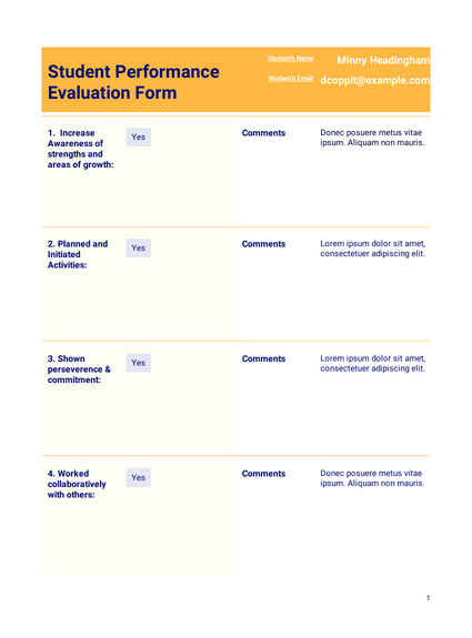 Performance Evaluation for Students Template