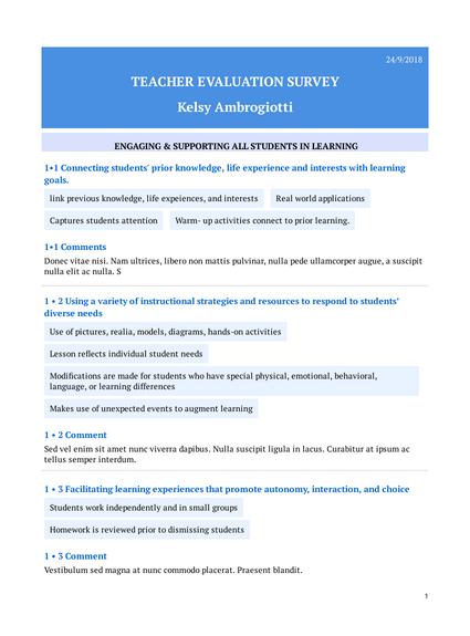 Teacher Evaluation Survey Template