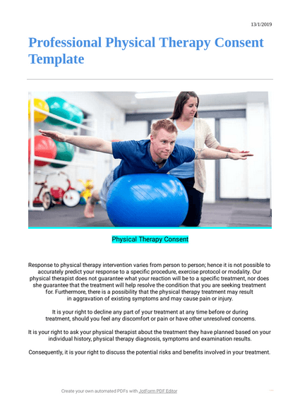 Professional Physical Therapy Consent Template