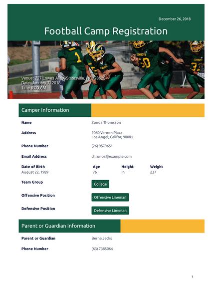 Football Camp Registration Template