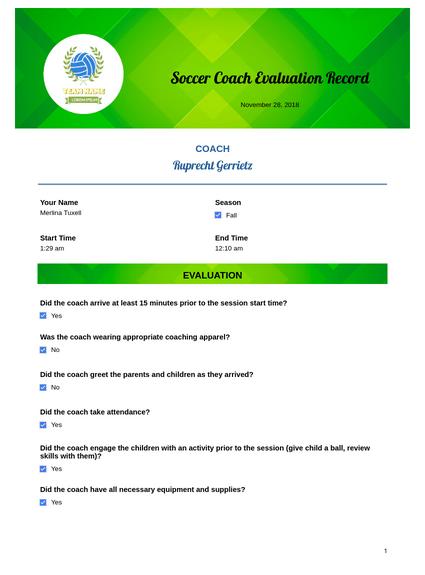 Soccer Coach Evaluation Template