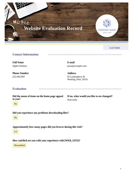 Website Evaluation Template