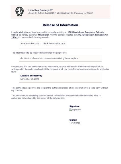 Release of Information Template