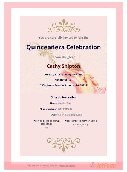 Quinceañera Invitation Template