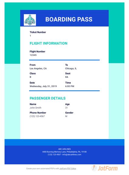Ticket Templates Pdf Templates Jotform