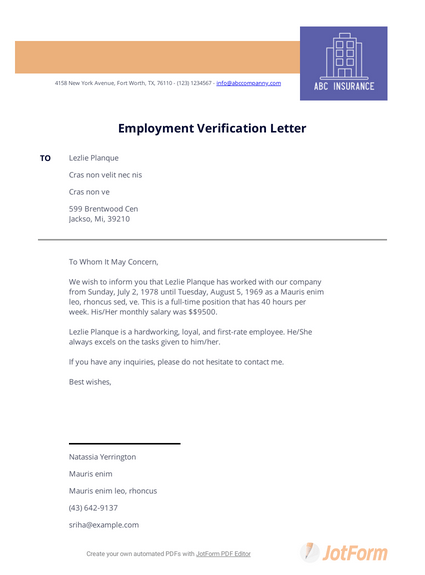 Previous Employment Verification Letter Pdf Templates Jotform